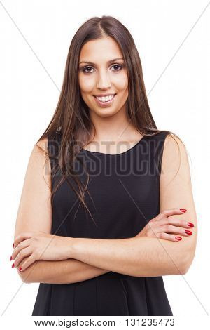 Portrait of a smiling young business woman, isolated on white background