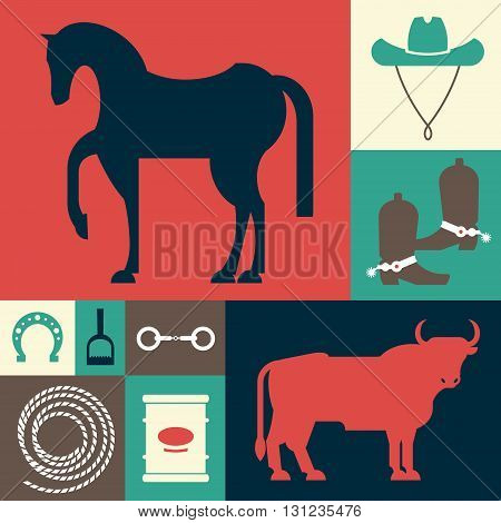Set of images - items used for entertainment shows sport - rodeo. Vector illustration isolated objects on a white background.