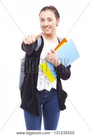 Cute young student girl thumbs up, isolated on white background