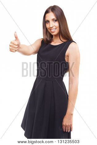 Smiling beautiful woman with thumbs up gesture, isolated on white background