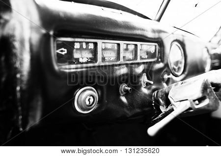 Interior Dashboard Of A Classic Vintage Car. Black And White