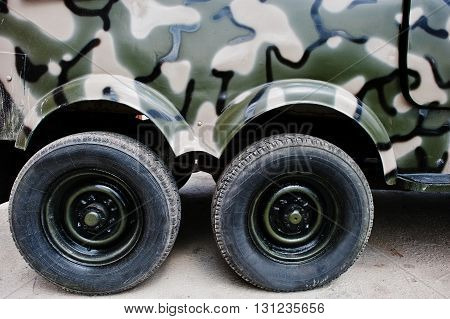 Two Twin Wheels At Military Truck Jeep Car