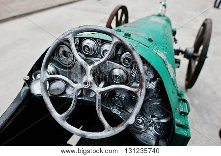 Iron Handmade Steering Wheel At Vintage Sport Car