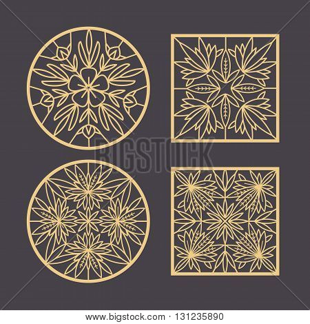 Set of vector design element. Template for creating logo icon symbol emblem monogram. Linear trend style. Illustration gold pattern on black background. Concept of unusual abstract luxury decor.