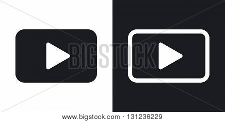 Vector play button icon. Two-tone version on black and white background