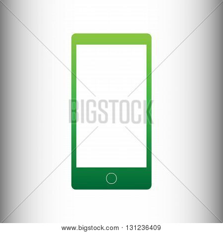 Abstract style modern gadget with blank screen. Template for any content. Green gradient icon on gray gradient backround.