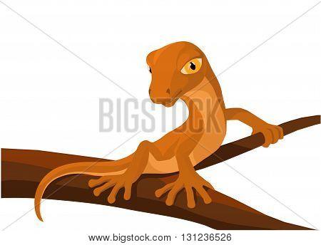 cartoon light lizard sitting on a dark branch