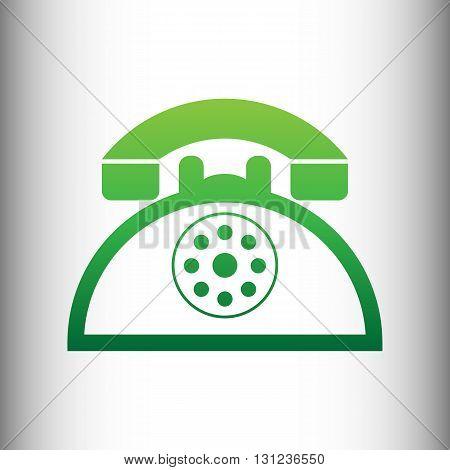 Retro telephone sign. Green gradient icon on gray gradient backround.