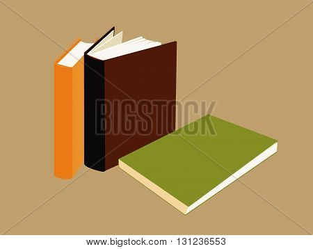 three isolated different books on light brown background