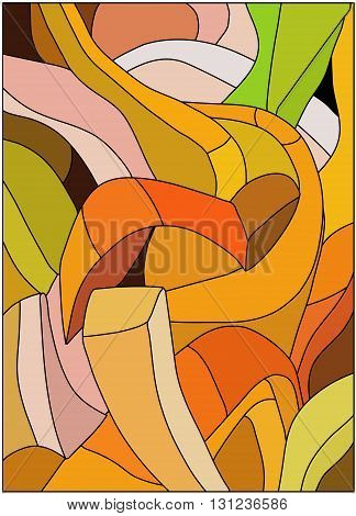 colorful curved abstract pattern of stained glass