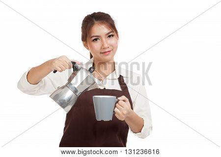 Asian Barista Girl With Coffee Moka Pot And Cup