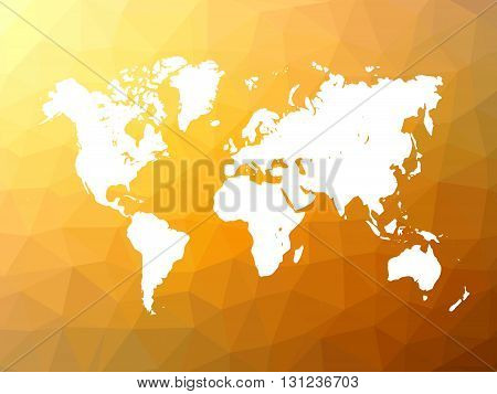 Map of World on low poly background. World map on background made of triangles. White vector illustration on orange polygonal shape background.
