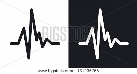 Vector pulse heart rate icon. Two-tone version on black and white background