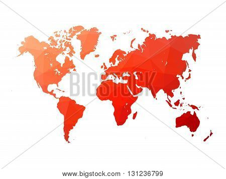 Low poly map of world. World map made of triangles. Red polygonal shape vector illustration on white background.