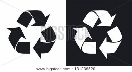Vector recycle sign or icon. Two-tone version on black and white background