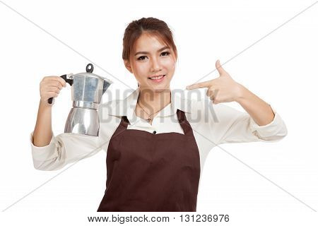 Asian Barista Girl Point To  Coffee Moka Pot
