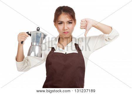 Asian Barista Girl Thumbs Down With Coffee Moka Pot