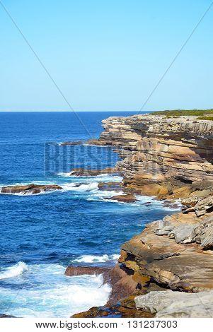 Rugged New South Wales coastal sandstone cliffs