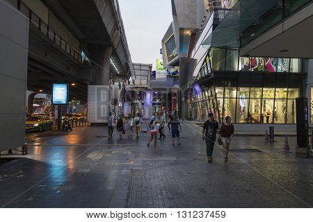 BANGKOK THAILAND - APR 17 : dusk scene of shopping street in siam square on april17 2016 thailand. siam square is famous shopping place of Bangkok