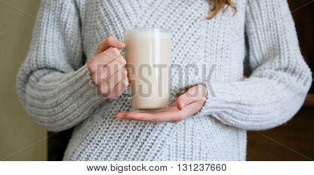 Cup Of Tea In Female Hands Closeup
