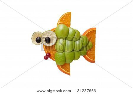 Funny fish made of apple and orange
