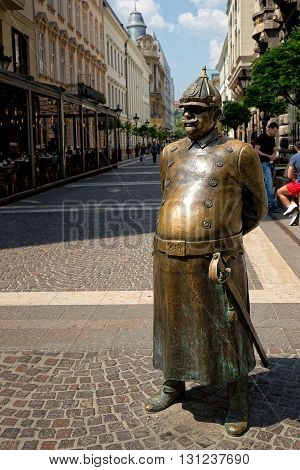Budapest, Hungary - May 21: Statue of Good Soldier Svejk on May 21, 2016 in Budapest, Hungary