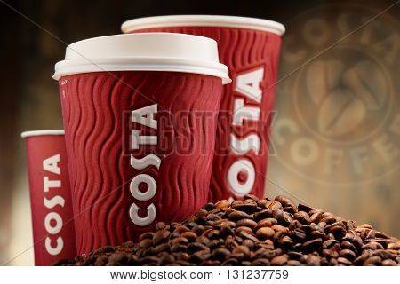 POZNAN POLAND - APRIL 24 2016: Costa Coffee is a British multinational coffeehouse company headquartered in Dunstable Bedfordshire; second largest coffeehouse chain in the world.