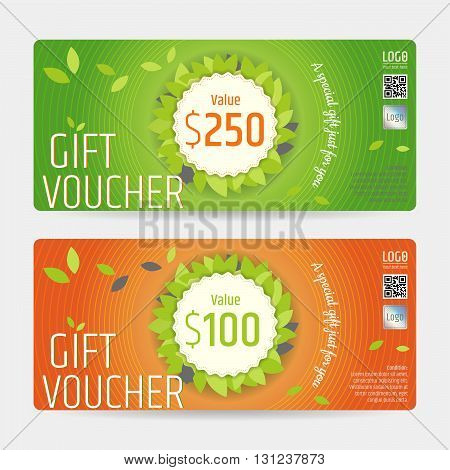 Gift certificate voucher coupon template in nature theme vector format