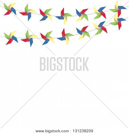 Festive garland of colored paper pinwheels. Horizontal festive garland of pinwheels. Bright garland for decoration. Vector illustration.