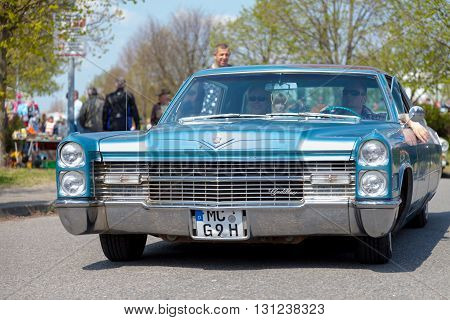 ALTENTREPTOW / GERMANY - MAY 1 2016: Cadillac Coupé de Ville drives on street at an oldtimer show in altentreptow / germany on may 1 2016.