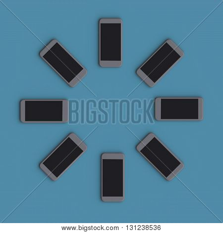 Smartphones Are Placed In Circle. Abstract Background With Mobile Device.