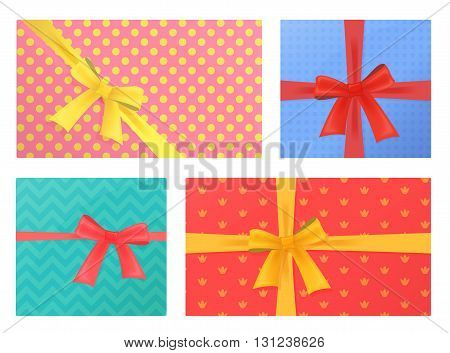 Birthday and Christmas holidays wrapped gift presents Gifts Pack.Top view
