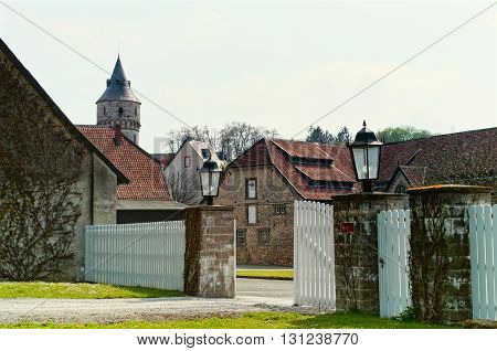 Gates to an old truss courtyard in Lower Saxony. Germany