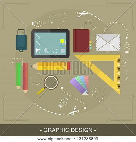 Graphic design flat concept. Editable vector illustration for website banner or promotion materials.