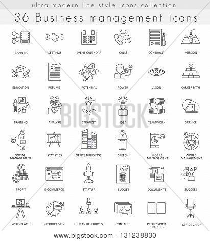 Vector Business management ultra modern outline line icons for web and apps