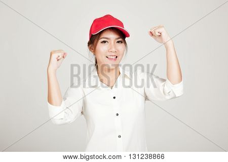 Happy Asian Girl With Red Hat