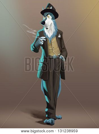 in this image wolf detective character in a brown striped suit