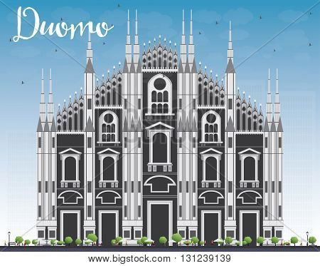 Duomo. Milan. Italy. Vector Illustration. Tourism Concept with Historic Building. Image for Presentation Banner Placard and Web Site.