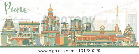 Abstract Pune Skyline with Color Buildings. Vector Illustration. Business Travel and Tourism Concept with Historic Buildings. Image for Presentation Banner Placard and Web Site.