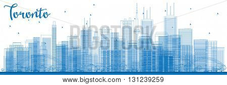 Outline Toronto skyline with blue buildings. Vector illustration. Business travel and tourism concept with modern buildings. Image for presentation, banner, placard and web site.
