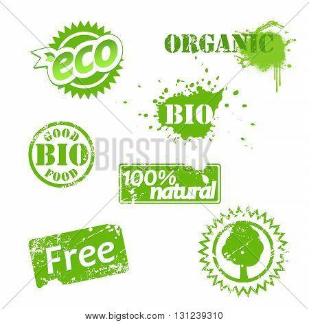 Set of used bio labels. Vector art