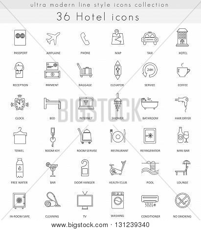 Vector Hotel ultra modern outline line icons for web and apps