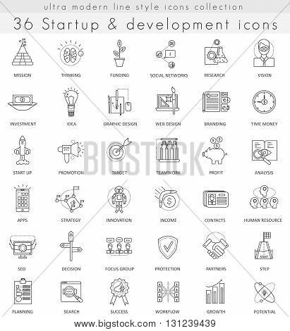 Vector Startup and development ultra modern outline line icons for web and apps