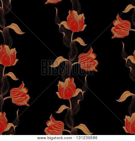Spring flower tulip. Vector seamless floral pattern. Garden bulbous tulip flower. Illustration - template luxury packaging design textiles paper. Gold branches leaves flowers on black background.