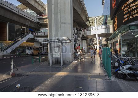 BANGKOK THAILAND - APR 24 : scene of shopping street in siam square on april 24 2016 thailand. siam square is famous shopping place of Bangkok