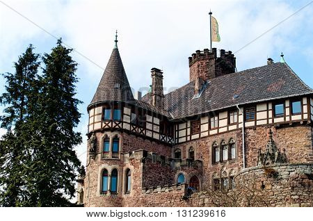 View on the medieval castle Berlepsch. Hessen, Germany