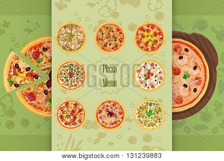Pizza Restaurant concept menu. Piece of pizza on the cutting board. Pizza menu illustration