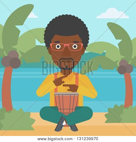 An african-american man playing tomtom on the background of tropical beach with palm trees and the sea vector flat design illustration. Square layout.