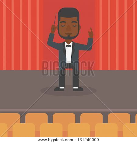 An african-american man directing with his baton on the stage vector flat design illustration. Square layout.