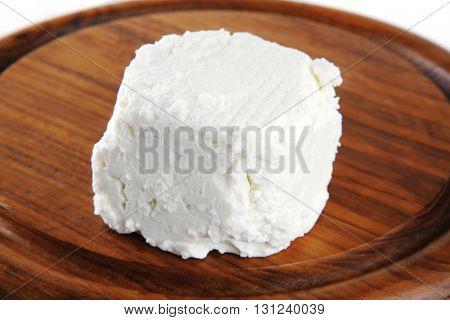 white light soft feta cheese on plate